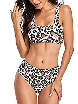 [Material]: Made of Polyester, stretchy, soft fabric [Feature]: Crop tank top bikini top with high cut high waist cheeky bottom, leopard print pattern, tie up design, two piece swimsuits bathing bikini sets [Occasion]: Sexy and cute swimwear, perfect...