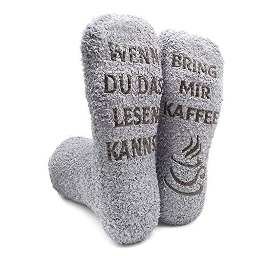 iZoeL Witzige Socken mit Geschenkbox Herr Frau Freundin Spruch Wenn Du Das Lesen Kannst Bring mir...