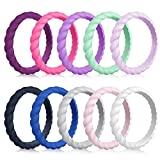 Mokani Silicone Wedding Ring for Women, 10-Pack Thin and Braided Rubber Band, Fashion, Colorful, Comfortable fit, Skin Safe, Size 10