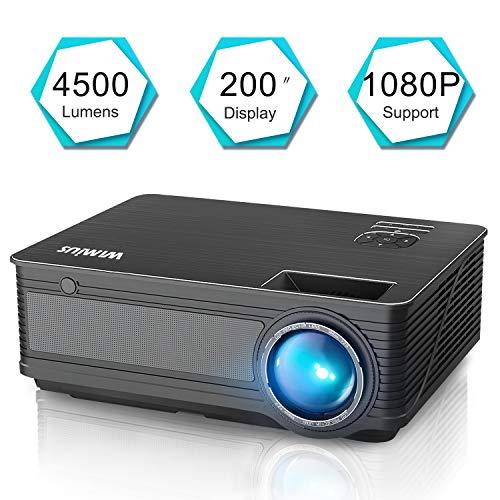 Vidéoprojecteur, WiMiUS Vidéo Projecteur 4500 Lumens Full HD Supporte 1080P Rétroprojecteur LED Projecteur Home Cinéma Compatible avec Amazon Firestick, Smartphone,Chromecast, TV Xbox, PS4, PC,etc