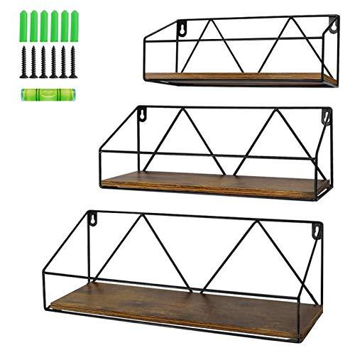 PETAFLOP Floating Wall Shelves Set of 3, Rustic Wood Storage Shelf for Bathroom, Bedroom, Kitchen, Living Room