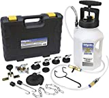 Mityvac MV6840 Hydraulic Brake and Clutch Pressure Bleeding System with Integrated Safety and Pressure Relief Valve, 7 Master Cylinder Adapters and Case , Black , 12 x 12 Inch