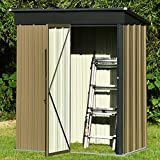 5x3 FT Outdoor Storage Shed, Galvanized Steel Tool Shed House for...