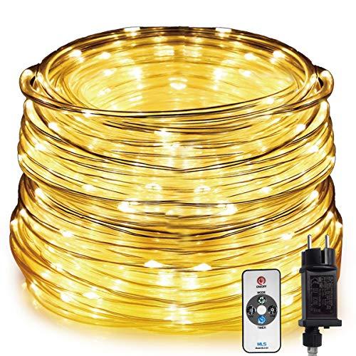 HAUSPROFI Tubo Luminoso a LED con Telecomando, Ghirlanda Luce da 20M a 400LED, 8 Modalit di Illuminazione e 10 Livelli Luce, Impermeabile per Interno/Esterno. Decorazione [Classe di efficienza A+++]
