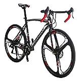 Eurobike Dual Disc Brake XC550 Road Bike 21 Speed Shifting System 54Cm Steel Frame 700C 3-Spoke...