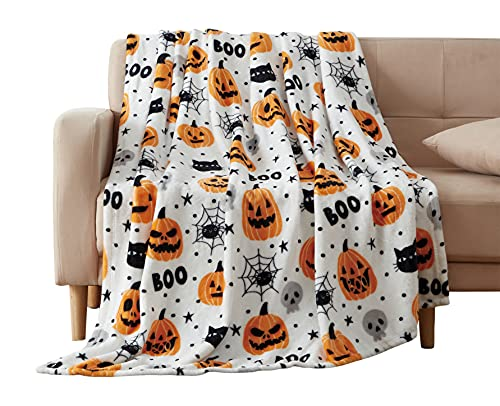 Halloween Throw Blanket: Fuzzy Boo! Jack O'Lantern Spider Webs Skull and Black Cats Print on Velvet Fleece for Sofa Bed Couch Chair Dorm (Style 1)