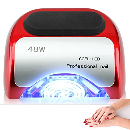 48W Nail Dryer-Lumcrissy Professional Quikly Dry Diamond Shaped CCFL & LED UV Nail Lamp (UV & LED 2 in 1 Nail Gel Lamp), Curing Nail Dryer for LED UV Gel Nail Polish nail tools (Red)