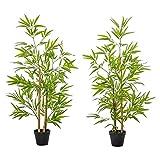 Outsunny Bambous artificiels 1,20H m - Lot de 2 bambous artificiels - 369 Feuilles réalistes par Bambou avec Vrais Troncs - Pot Inclus Noir Vert