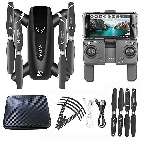 Bascar Drone S167 con fotocamera, pieghevole, 2,4 G, 1080 P, HD Selfie 120, obiettivo FOV, GPS 5G, WiFi FPV RC Quadcopter | Modalit Headless | Follow-Me | con batteria Lipo da 3,7 V 1300 mAh