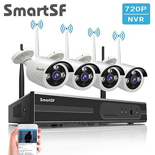 Kit Videosorveglianza wifi 1080P NVR Kit Wireless Sistemi di Sorveglianza,720P 1.0MP Telecamere Bullet IP per esterni,Full HD,P2P,65ft Night Vision,Accesso Remoto,NO HDD