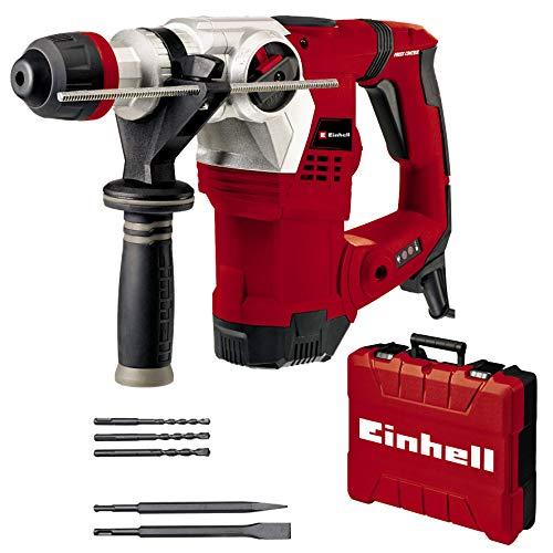 Einhell Marteau perforateur TE-RH 32 4F Kit (1250 W, 5,0 joules, puissance de perçage dans le béton, SDS-Plus, poignée anti-vibration, avec boîte électronique, 3 forets, burins pointus et plat)