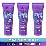 Aussie Instant Freeze Sculpting Maximum Hold Hair Gel with Jojoba Oil, Sea Kelp and Australian Aloe, 7 Oz (Triple Pack)