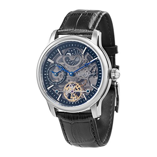 Thomas Earnshaw Longitude Shadow ES-8063-04 Herren-Armbanduhr mit Automatikgetriebe, schwarzes Zifferblatt mit Skelett-Anzeige, schwarzes Lederarmband