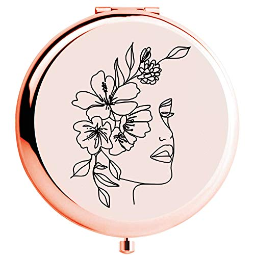 onederful Woman Head of Flowers with Flowers Line Art Rose Gold Compact Makeup Mirror Gift for Sister,Girls and Women, Sister Girls Women Birthday, Christmas, Graduation Gift Ideas