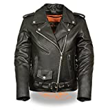 Milwaukee Leather LC2700 Ladies Black Basic Classic Motorcycle Premium Leather Jacket with side laces, Large