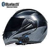 Skeby Bluetooth Modular Motorcycle Helmet,DOT/ECE Approved Carbon Fiber Lightweight Anti-Fog Dual Visor Motorcycle Helmet Mofa Bobber Chopper Cruiser Racing Hat