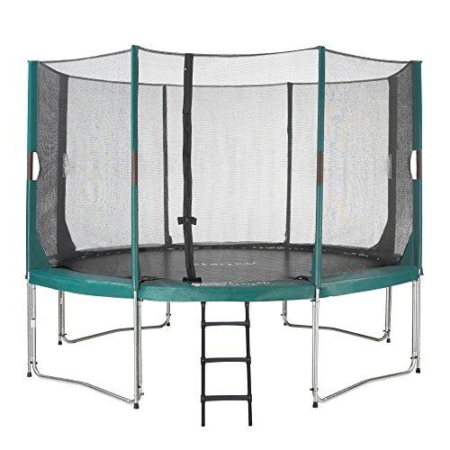 Etan Hi-Flyer Outdoor Trampolin Komplett mit starkem Sicherheitsnetz - UV-beständiges Randabdeckung & Leiter - Belastbarkeit 100 kg - Gartentrampolin - Grün - Rund - Ø 427 cm