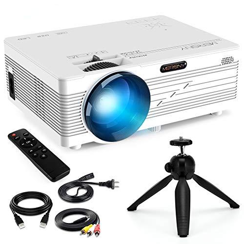 """Merisny Mini Beamer mit Halterung, 3500 Lumen Tragbar LCD Video Projektor mit max 176\"""" Display, unterstützt 1080P Full HD,Kompatibel mit HDMI VGA USB AV TF für Smartphone Laptop"""