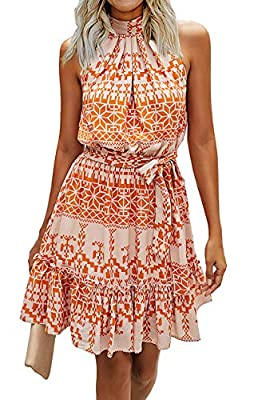 FEATURES - Dresses For Women / Boho Dresses For Women / Retro Aline Dresses For Women / Allover With Stylish Pattern: Leopard, Floral, Polka Dot, Color Block Graphic / A Keyhole Connect With The Halter Neckline / Backless / Sleeveless / Moderate Stre...