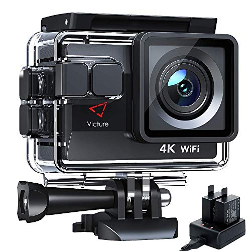Victure 4K Action Cam Wi-Fi 20MP Ultra HD Camera Impermeabile 40M Immersione Sott'Acqua Camera 170° Grandangolare 2.0 Pollici Due 1050mAh Batterie/Caricabatteria/Kit Accessori per Ciclismo Nuoto
