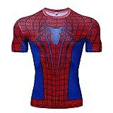MYYLY T-Shirt Compression Hommes Manches Courtes Spiderman Sports Vêtements Séchage Rapide Jogging Fitness Chemise Manches Courtes T-Shirts pour Adultes Super-héros,Red-3XL (170~190CM)