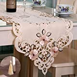 Tasera Flowers Embroidered Table Runner, Fashion Contracted Tea Table Cover Polyester Table Linen for Restaurant Kitchen Dining Wedding Party Banquet Events (15.74W x 69.29L)