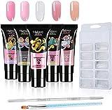 Anself 5 colores * 15 ml Kit de construcción de gel de uñas + 100 piezas de herramientas de uñas postizas ...