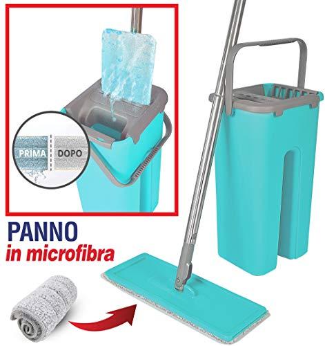 MAURY'S Flat Mop Lavapavimenti Automatico E Salvaspazio Secchio Auto Detergente a Doppio Scomparto...