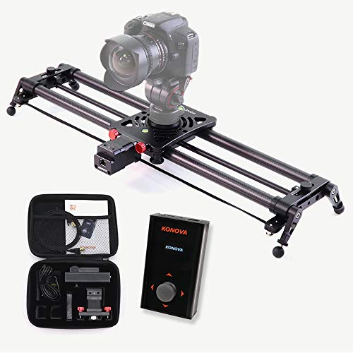 KONOVA Motorizzato P1 Series Carbonio Binario Slider Dolly with S2 for Parallax Panorama shot Live motion and timelapse supports Camera, Gopro, Mobile phone, DSLR, Mirrorless with Bag (80cm)