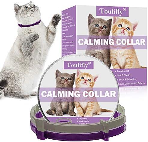 TOULIFLY Collar calmante para gatos, ajustable, alivia la ansiedad, contiene feromona, collar natural de larga duración, seguro y eficaz (2 unidades)