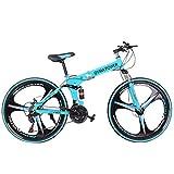 【US Stock】- UROSA High Carbon Steel 26 Inch Folding Mountain Bike 21 Speed Gears Bicycle Mechanical Disc Brakes Shimanos Full Suspension MTB Bikes