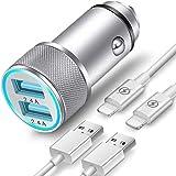 Prise de Chargeur Allume-Cigare USB TIKALONG avec 2 Câbles Lightning,...