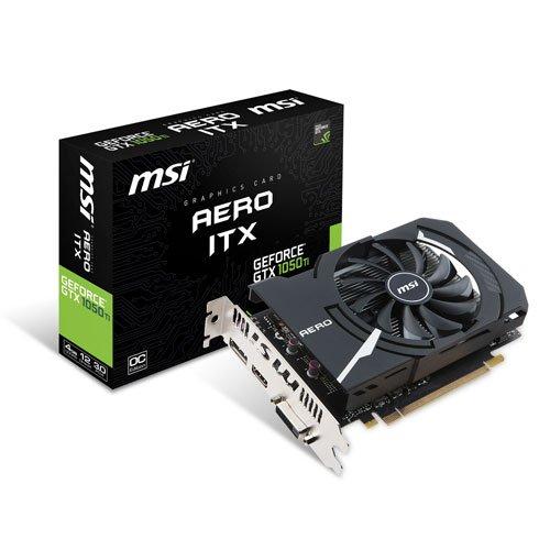 MSI GTX 1050 Ti AERO ITX 4G OCV1 Scheda Grafica da 4 GB GDDR5, 768 Core, 1341MHz GPU, 1455MHz, Nero