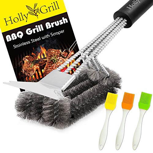 HollyGrill Safe Grill Brush and Scraper | Heavy Duty 18''...
