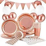 Hotelvs Decoration Anniversaire Vaisselle, 145 pcs Or Rose Décoration de Fête Assiette Dîner...