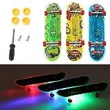 Yanhonin 2Pcs Mini Skateboard De Doigt LED, Planche Technique De Planche À...