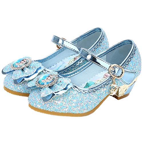 YOSICIL Disfraz Princesa Zapatos Frozen Elsa Zapatos de Lentejuelas Antideslizante Niñas Zapatos de Tacón Velcro Zapatillas de Baile para Vestir Fiesta Cumpleaños Boda Infantil 3-14 Años