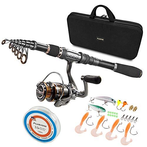 PLUSINNO Telescopic Fishing Rod and Reel Combos Full Kit, Carbon Fiber Fishing Pole, 12 +1 Shielded...