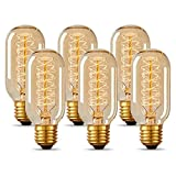 T45 Vintage Edison Light Bulb 40 Watt Dimmable Incandescent Old Fashioned Light Bulb, E26 Base, Antique Style, Amber Tube, Warm Decorative Lamp, 6 Pack