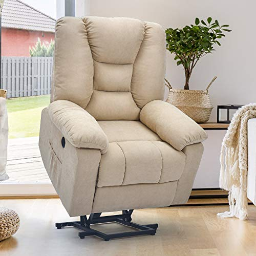 Esright Microfiber Power Lift Electric Recliner Chair with Heated Vibration Massage Sofa Fabric Living Room Chair with 2 Side Pockets, USB Charge Port & Massage Remote Control, Beige Gray