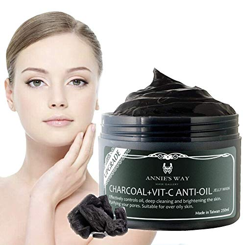 ANNIE'S WAY Face Mask Charcoal Black Jelly Brightening Deep Cleaning Relaxing Vitamin-C Anti Oil Peel Off (250ml)