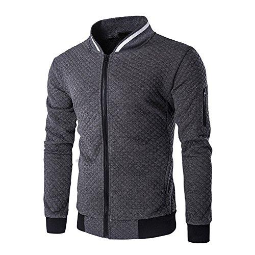 Veravant Sweat-Shirt Homme Manches Longues Pull Uni Zippé Bomber Blouson Veste Sport - Gris foncé - Medium