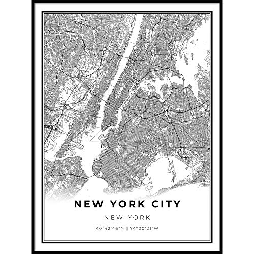 Skanndi New York Area Map Print, New York City NYC NY USA, Map Art Poster, Modern Wall Art, Street Map Artwork 9x11