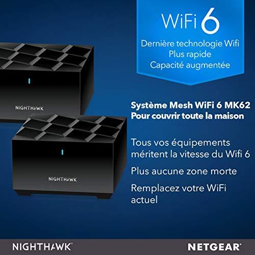 51LXaKAMJ5L._SL500_ [Bon plan] !  NETGEAR Système WiFi 6 Mesh Nighthawk (MK62) – Routeur WiFi 6 AX1800 pack de 2 pour un wifi partout dans la maison,...