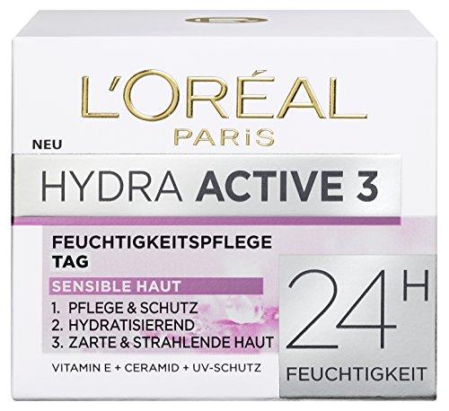 L\'Oreal Paris Hydra Active 3 Tagespflege, mit Vitamin E und UV-Schutz für sensible Haut, spendet intensiv Feuchtigkeit, 50 ml
