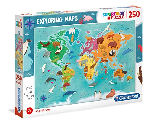 Clementoni - 29063 - Exploring Maps - Animals In The World - 250 Pezzi - Made In Italy - Puzzle...
