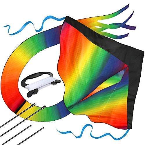 Riesiger Regenbogen-Leichtwinddrache mit 50m Drachenschnur - Lenkdrachen für Kinder - Kinder-Drachen - Flugdrachen Einleiner mit eBook zum Download - Fliegt wie \'ne Eins auch bei leichter Brise