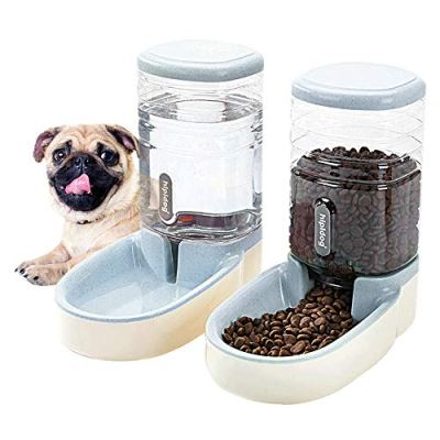 2 in 1 Pets Feeder Automatic Cat Feeder and Water Dispenser for Small Medium Big Dogs Cats Big Capacity 3.8L (Light Gray…