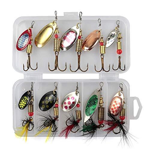 10 Pezzi/Set Filatore di Pesca Cucchiaino Metallo Esche da Pesca Esca Paillettes Crankbait o Esca Crank Cucchiaino Esche per Spigola Trota Piedistallo Luccio Rotante Accessori Pesca - Come Mostrato