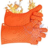 Jolly Green Products Ekogrips Premium Heat-Resistant BBQ Gloves for Cooking and Meat Handling, Kitchen Oven Gloves, Fireplace Accessory, Campfire Gloves, BBQ Mitt, Dishwashing Gloves, Orange, One-Size Fits Most